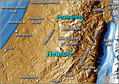 Map of Southern Israel - Hebron