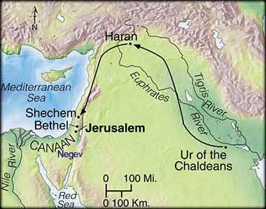 Map of the middle east at the time of Abraham
