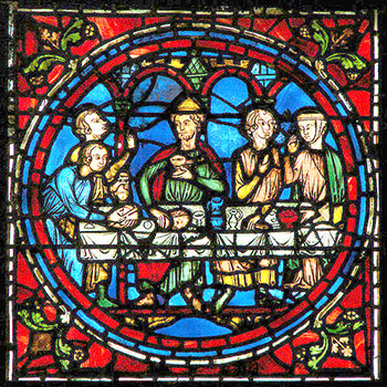devotional stained glass in Chartres Cathedral