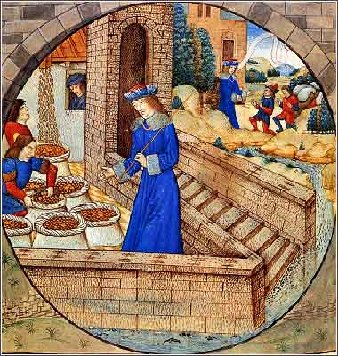 <i>Joseph Fills Sacks with Grain</i>, by Raphael de Mercatelli, Ghent, late 15th century.