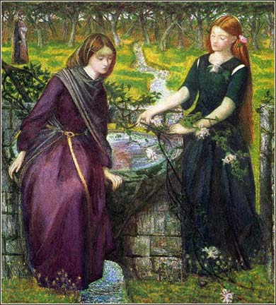 <i>Leah and Rachel</i>, by Dante Gabriel Rossetti, 1885.