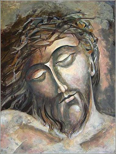 <i>Head of Christ,</i> by Mary Jane Miller, contemporary.