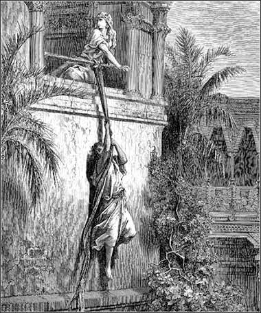 <i>Michal Lets David Escape from the Window</i>, by Gustave Doré, 1865.