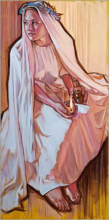 <i>Waiting,</i> by Rose Datoc Dall, contemporary. One of the wise virgins awaits the bridegroom.