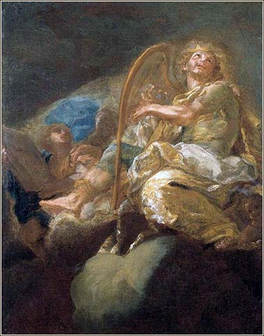 <i>David Plays the Harp</i>, by Giacomo del Po, ca. 1700.