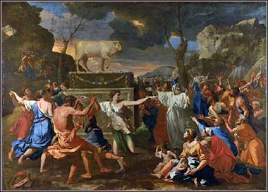 <i>Adoration of the Golden Calf</i>, by Nicholas Poussin, ca. 1633.