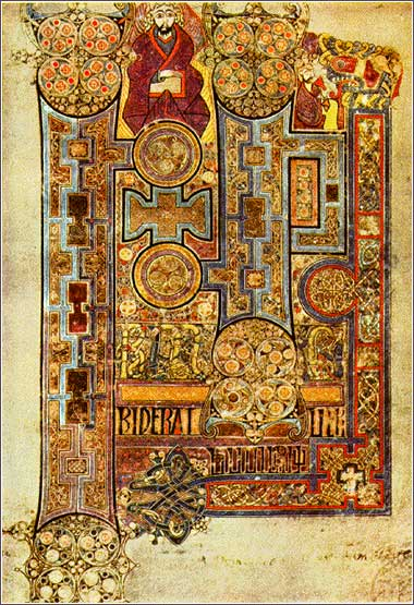 The first page of the Gospel of John, from the <i>Book of Kells</i>, created in Britain or Ireland ca. 800 AD.