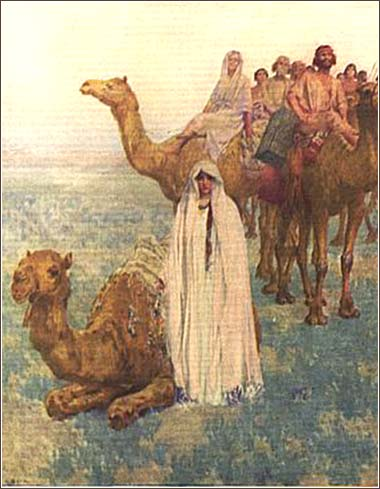 <i>Rebekah Comes to Isaac </i> by  W. L. Taylor, from <i>The Children's Bible. </i> (Scribner, 1922).