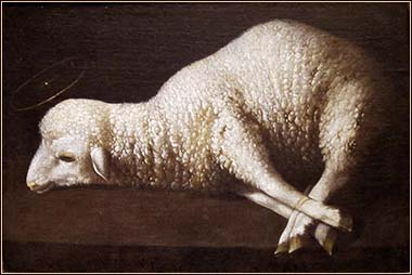 Agnus Dei (The Lamb of God), oil on canvas painting by Francisco de Zurbarán, c. 1635-40, San Diego Museum of Art Date 	c. 1635-40
