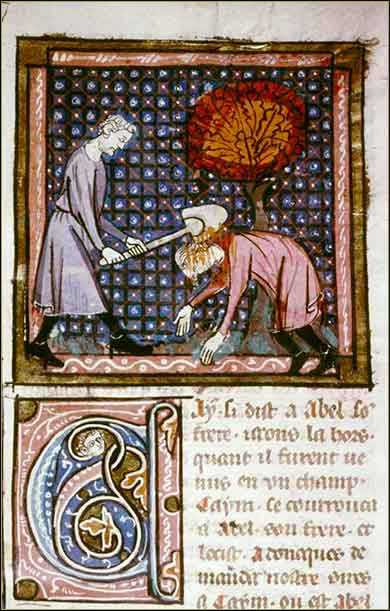 <i>Cain and Abel</i> from 14th century French Bible.
