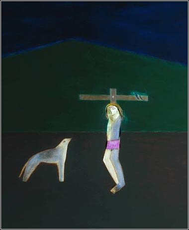 <i>Crucifixion (detail)</i> by Craigie Aitchison, ca. 1979.