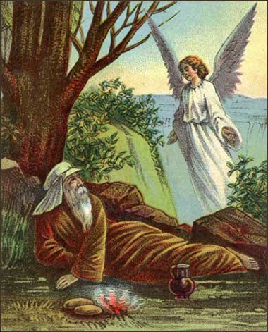 Illustration the angel feeding Elijah, from a Victorian Bible
