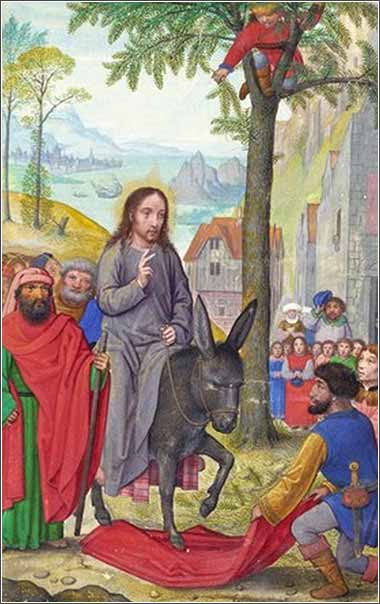 <i>Entry into Jerusalem</i> by Simon Bening, ca. 1525.