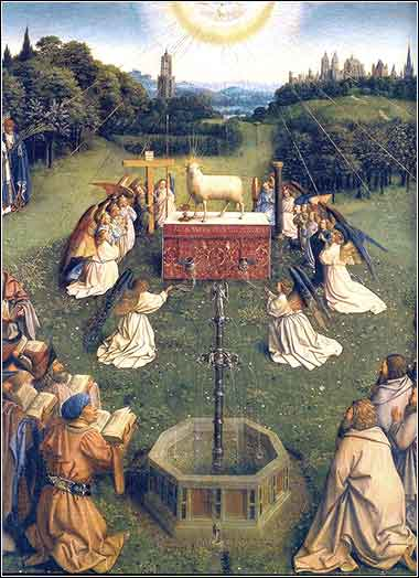 Devotional painting of Ghent altarpiece Lamb