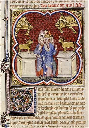 Jeroboam sets up two golden calves, Bible, 1 Kings 12