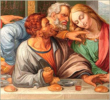 <i>The Last Supper (detail)</i>, a mosaic by Raffaeli from Da Vinci's masterpiece.