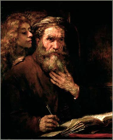 <i>St. Matthew and the Angel</i>, Rembrandt von Rijn ca. 1660.