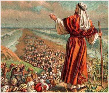Moses in Exodus, Hebrews crossing the Red Sea