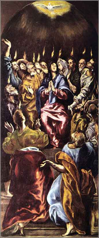 Devotional painting of the Pentecost by El Greco, c. 1600.