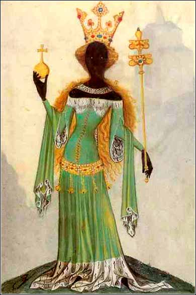 <i>Queen of Sheba</i> from a medieval manuscript, <i>Bellifortis</i>, by Conrad Kyeser, ca. 1405, Prague.
