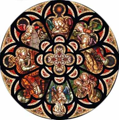 Stained glass rose window, art nouveau