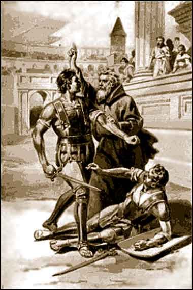 Saint Telemachus protests gladiator games