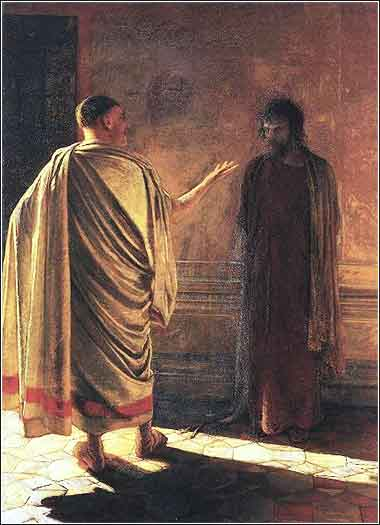 Quod es veritas (what is truth), painting of Jesus and Pilate, Nikolai Ge c. 1890