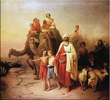 Devotional painting of Abraham and his family