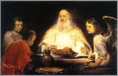 Devotional painting of Abraham and the Three Men
