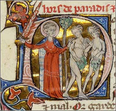<i>Adam and Eve Expelled</i> by Pierre le Mangeur, illustrated Bible ca. 1350.