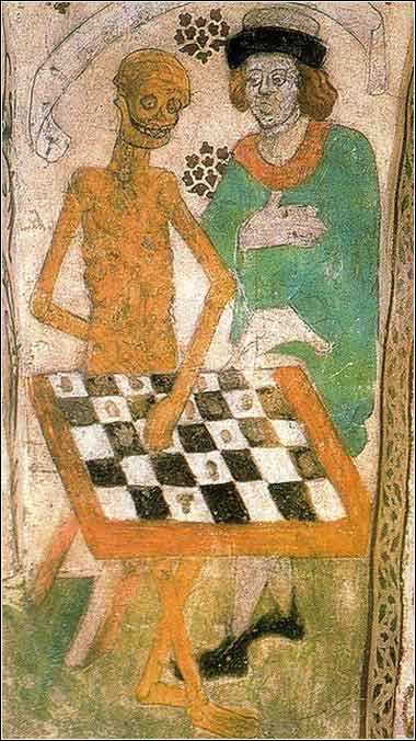 <i>Death Playing Chess,</i> mural on the wall of Taby Church, Uppsala, Sweden, by Albertus Pictor, ca. 1480.