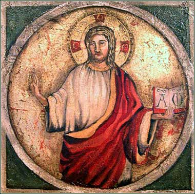 Early Roman tile of Christ holding a book with Alpha and Omega