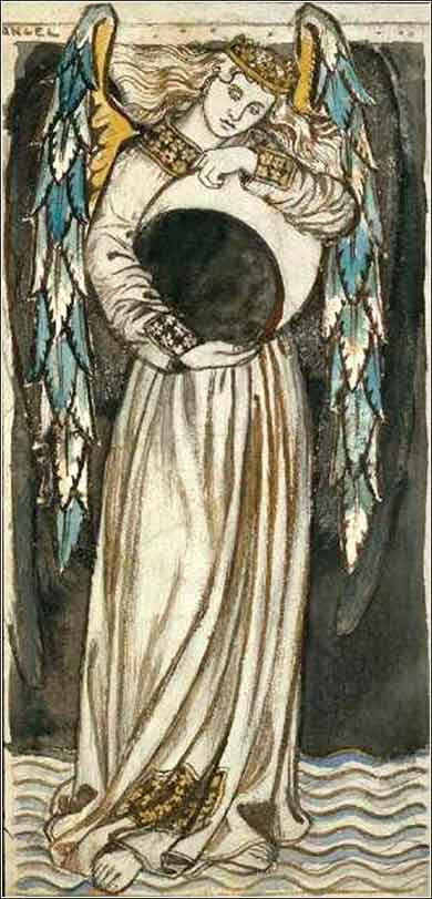 <i>Angel with Waning Moon</i>, William Morris ca. 1864.