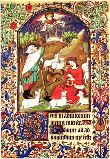 <i>Annunciation and Shepherds</i> from a French <i>Book of Hours</i> (a prayer book), ca. 1425.