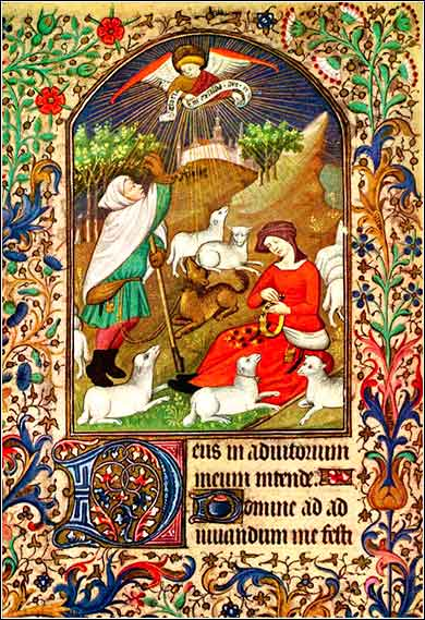 <i>Book of Hours</i>, French ca. 1425, showing the birth of Jesus announced to the shepherds.