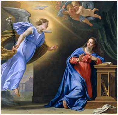 Devotional painting of The Annunciation, Philippe de Champaigne  (French, Brussels 1602–1674 Paris) ca. 1644