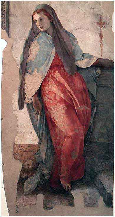 <i>The Annunciation (detail)</i>, fresco by Jacopo Pontormo ca. 1528.