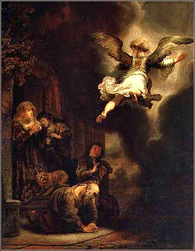 <i>The Archangel Raphael Taking His Leave of Tobit</i> by Rembrandt van Rijn, ca. 1637.