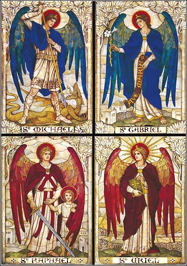 The Four Archangels: Michael, Gabriel, Uriel, and Raphael (clockwise from top left).