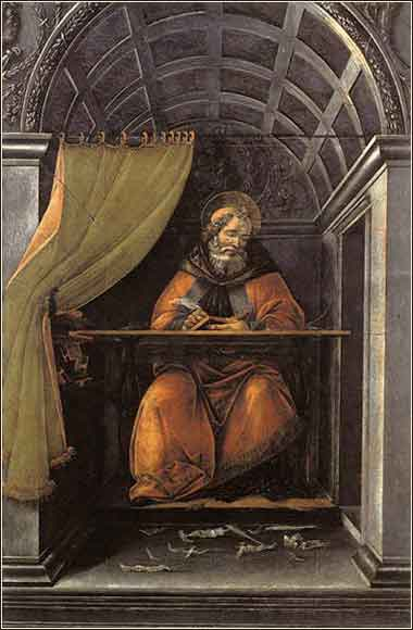 Devotional painting of Saint Augustine in his Study by Sandro Botticelli, c. 1490
