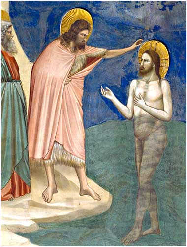 <i>Baptism of Christ (detail)</i> by Giotto (Giotto di Bondone), ca. 1305.