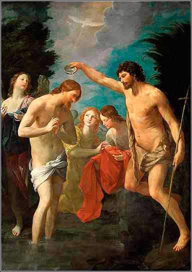 Devotional painting of the baptism of Jesus Christ by Guido Remi