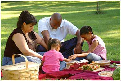 African-American family at prayer