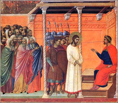 <i>Christ Before Pilate </i> by Duccio, ca. 1311.