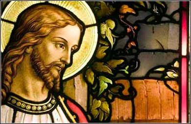 Jesus the Savior, stained glass