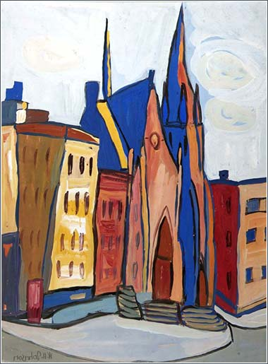 <i>Church on Lenox Ave.</i> by William Johnson, ca. 1944.