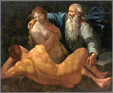 <i>Creation of Adam and Eve</i> style of Giulio  Carpioni, ca. 1660.