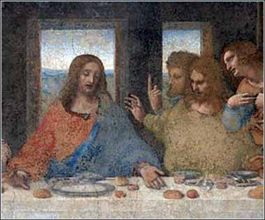 da Vinci, Last Supper (detail of Christ)