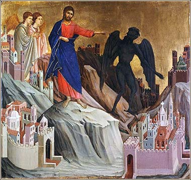 <i>The Temptation of Christ (detail)</i> by Duccio, ca. 1310.