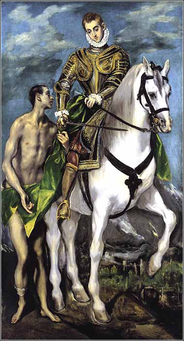 Devotional painting of Saint Martin and the Beggar by El Greco